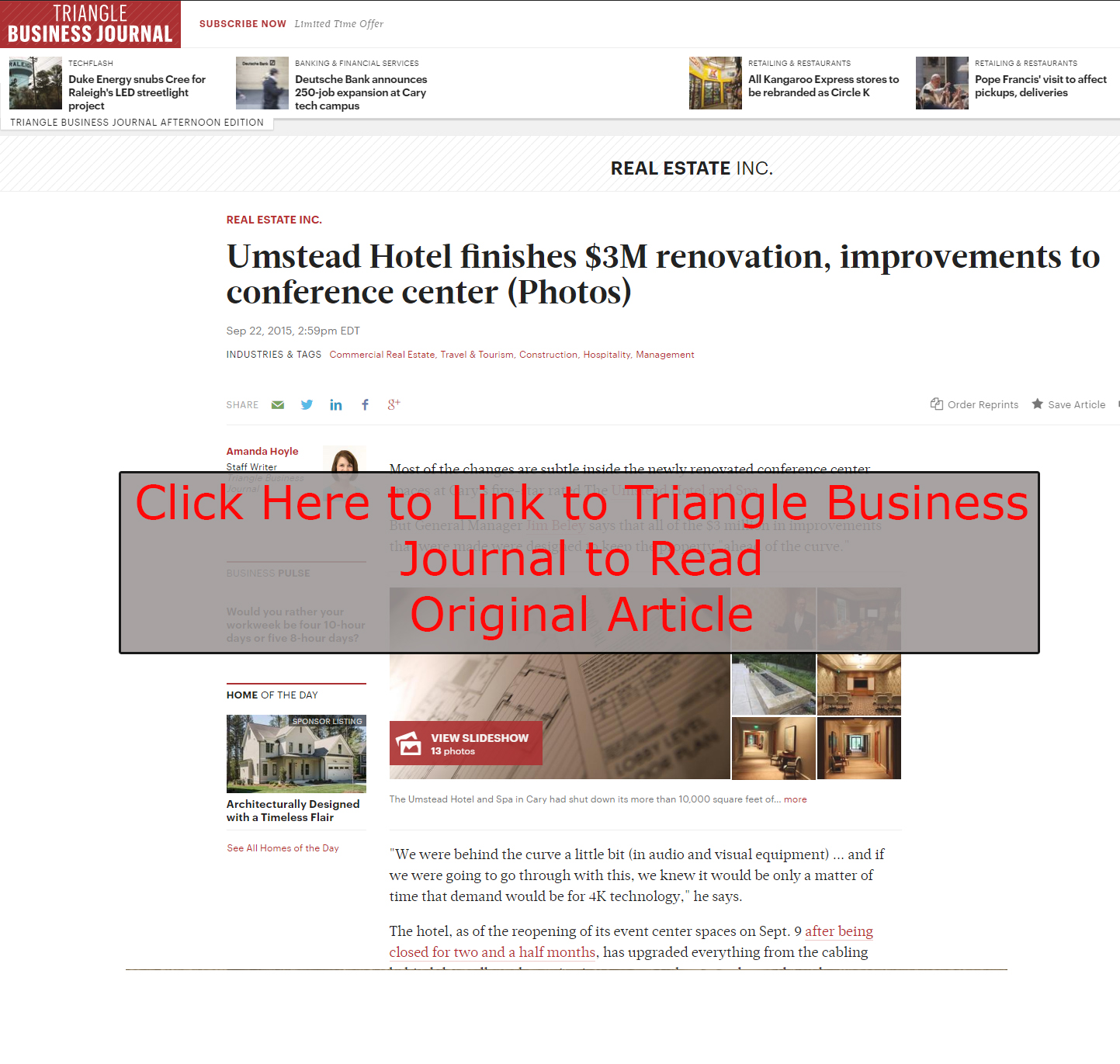 Umstead Hotel Renovations Interior Design by MBID in TBJ